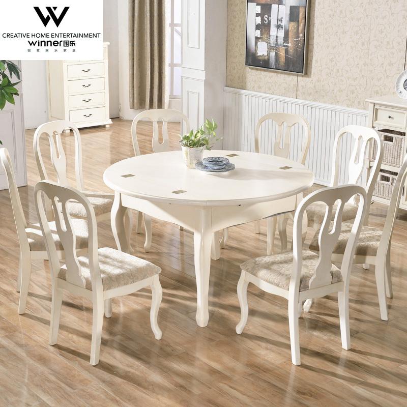 美式圆形实木餐桌 多人小户型折叠餐桌椅组合8人原木